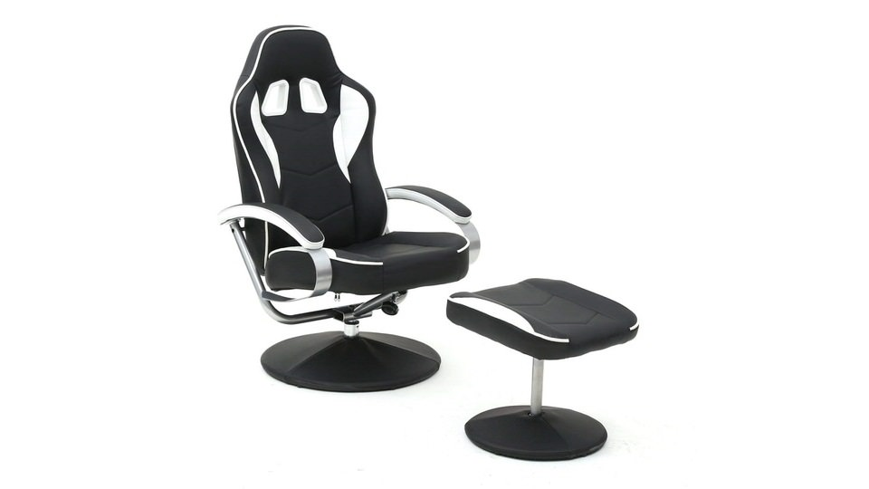 Magshion Black PU Racing Recliner Chair Set