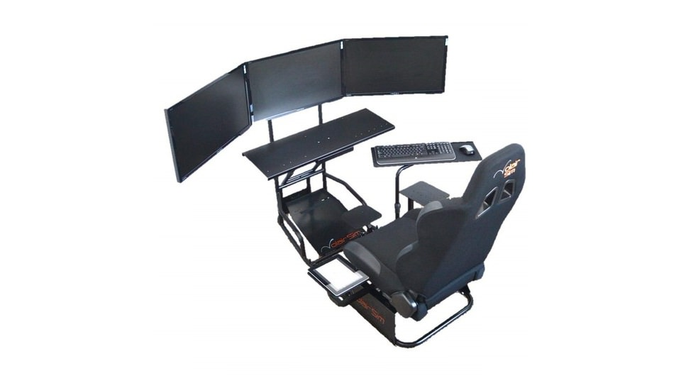 Volair Sim Universal Flight/Racing Cockpit with Triple Monitor Mounts